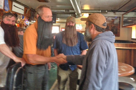 Beards greeting the Beard at his first of two appearances in Montana.
