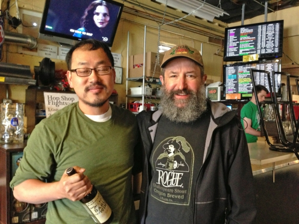 Enjoying a beer with Chuck of Chuck's Hop Shop.