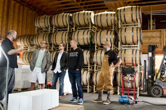 Touring the barrel room where we ocean age our spirits.