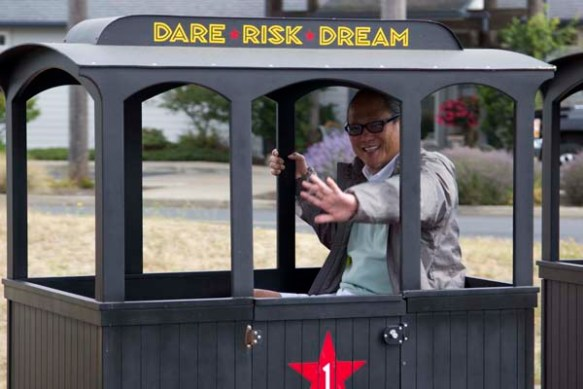 The Iron Chef rides the Iron Horse at the Rogue Brewery and Distillery.
