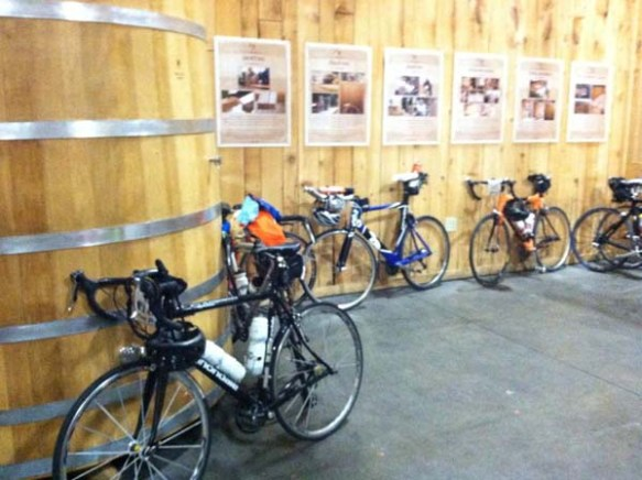 On Day 3 of the ride, the entourage parks their bicycles in the Wood Room of the Rogue Brewery in Newport, Oregon.