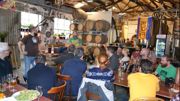 The Beard address the throngs at the Master Class of Madness, held at the Moon Dog Brewery during Melbourne Beer Week.