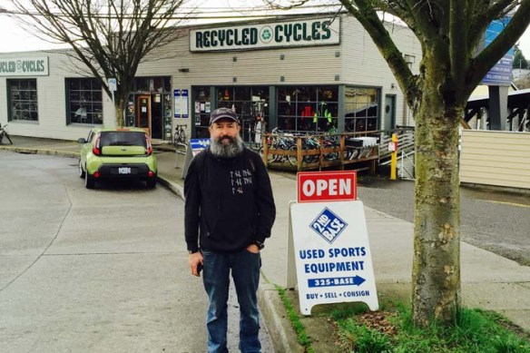 The Beard always finds time to visit a local bike shop.